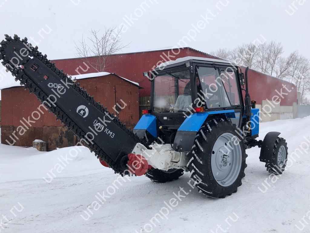 Трактор МТЗ - 82.1, ХТС, с грунторезом и передним отвалом.